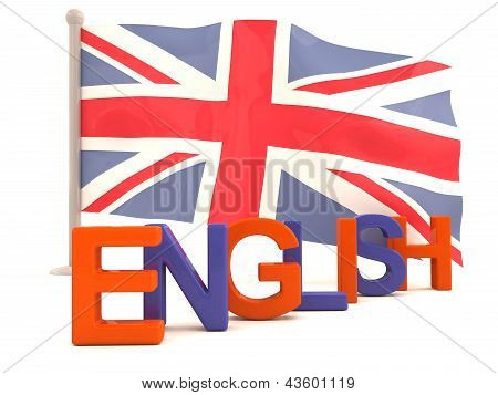 English Word With British Flag. 3D Model