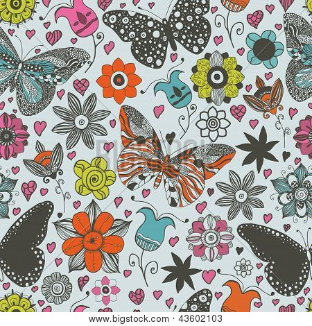 Vector seamless pattern with butterflies and flowers.