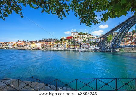 Oporto Or Porto Skyline, Douro River And Iron Bridge. Portugal, Europe.
