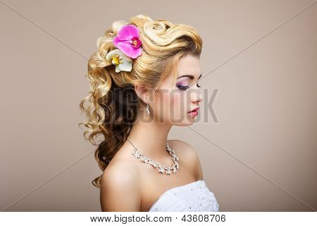 Harmony. Pleasure. Profile Of Young Lady With Jewelry - Earrings & Necklace