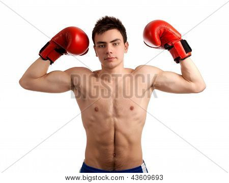 Portrait of boxer showing his muscles.