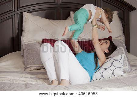 Mom and baby having fun