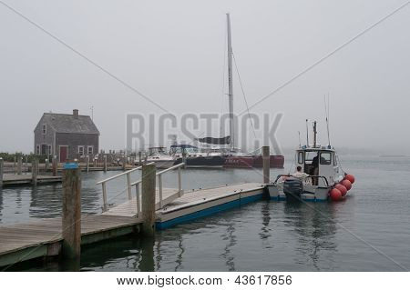 Foggy afternoon at Edgartown harbor