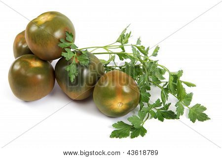 Brown Tomatoes Isolated On White Background.