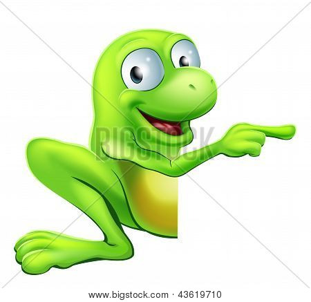 Frog Peeking Round Sign Pointing