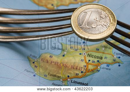 Cyprus Financial Crisis Euro Coin Over Map