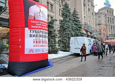 Kiev - Mar 21: Pneumonia Test Scanning With Mobile X-rays Radiography Car In Kiev, Ukraine On March
