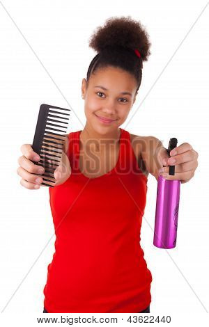 Afro-american Young Woman With Comb
