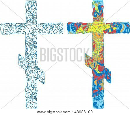 Orthodox ornamented cross for Easter holiday