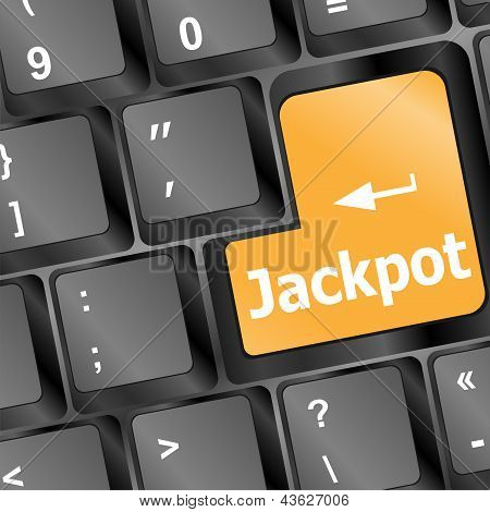 Key On A Computer Keyboard With The Words Jackpot