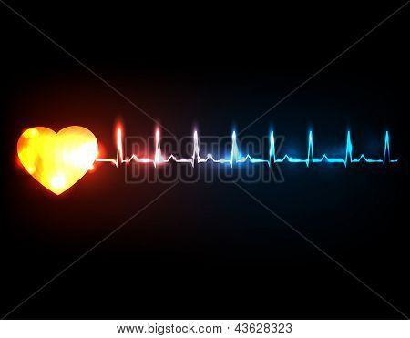 Abstract cardiogram with heart