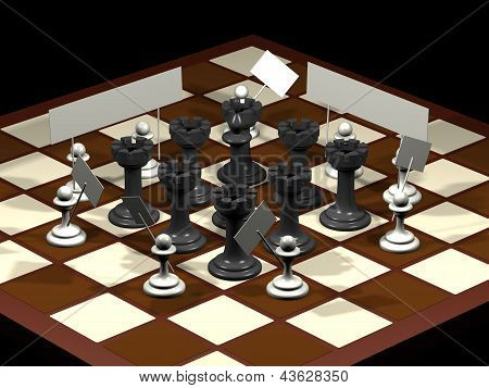Chess Allegory Opposition Citizens And Government