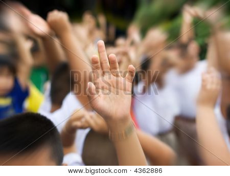 Hand Raised In Schoolyard
