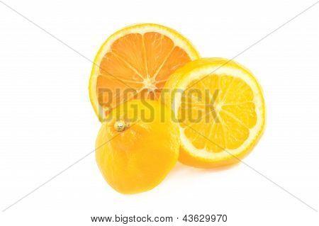 Orange Lemon On A White Background