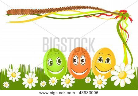 Happy Easter Eggs On Grass