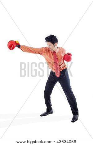 Businessman Boxing On White