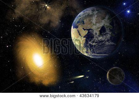 Earth, Moon And Galaxy.