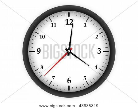 Clock on white background