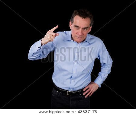 Angry Middle Age Business Man Shaking Finger