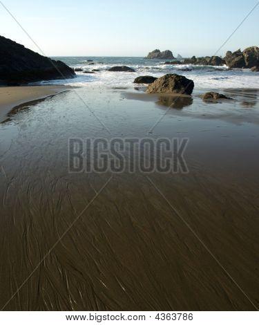 Riptide On Sandy Beach In Oregon