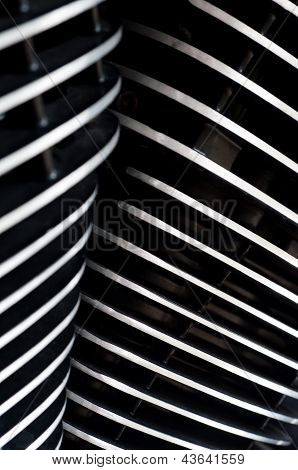 Cooling fins on a V-twin motorcycle engine