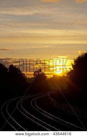 Sunset Over The Railroad