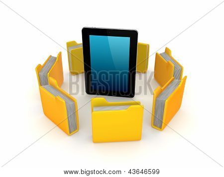 Yellow folders around tablet PC.