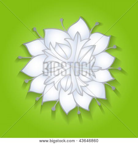 Flower on green background with realistic shadow