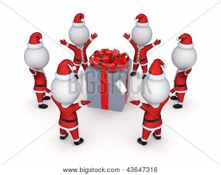 Santas around giftbox.