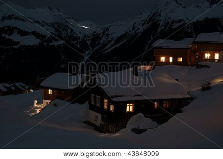 Ski village at night