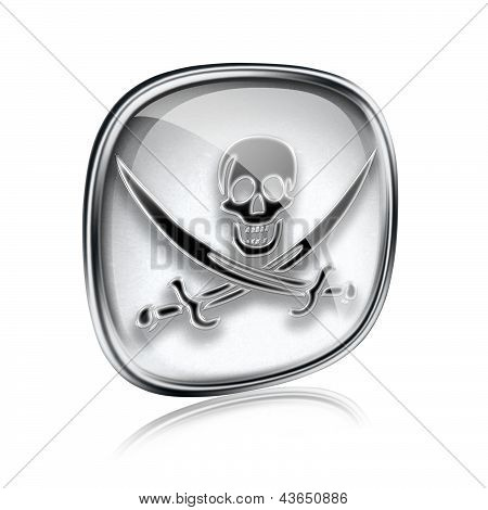 Pirate Icon Grey Glass, Isolated On White Background.