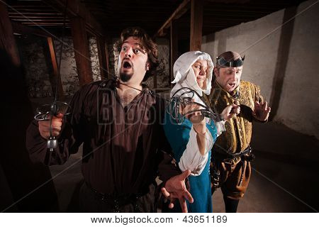 Nun Fighting Two Men