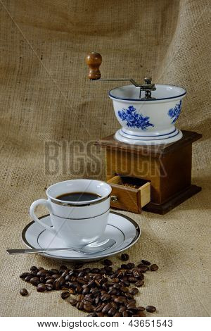 Coffee With Antique Coffee Mill