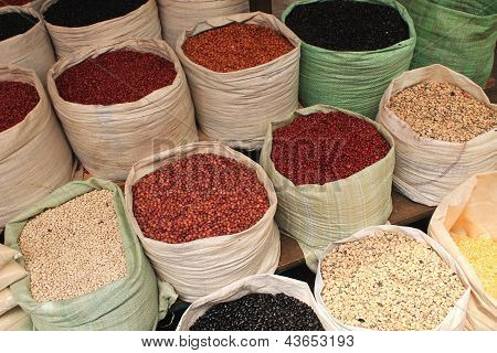 Dried Beans For Sale At A Mexican Market