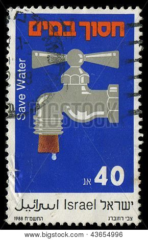 Israel- Circa 1988:stamp Printed In Israel, It Is Devoted To Water Preservation, Circa 1988