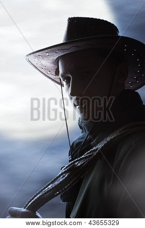 Silhouette Of  Handsome Cowboy