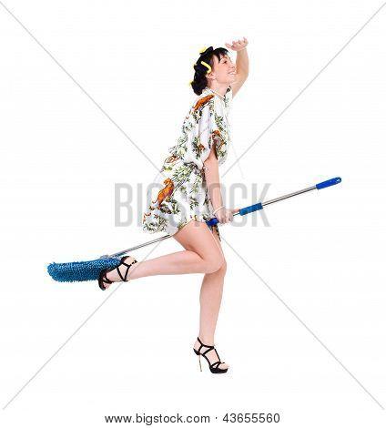 homemaker on a broom