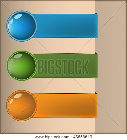 Labels With 3D Buttons In Three Colors