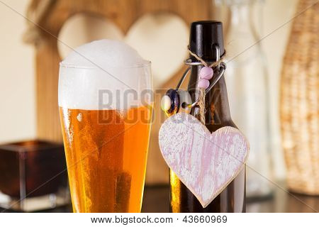 Pint Of Frothy Beer With A Heart