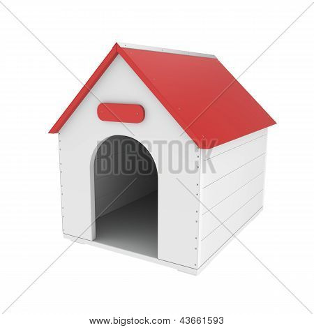 Doghouse On White