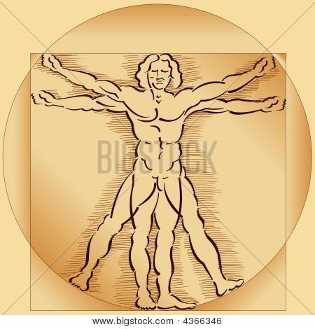 Vitruvian Man Sepia