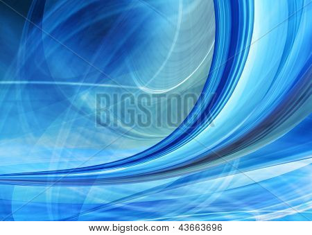 Abstract speed background of blue curved shapes