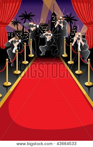 Red Carpet And Paparazzi Background