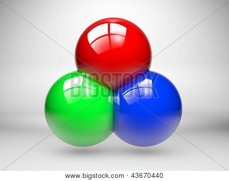 Rgb Colors Made With Three Spheres