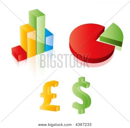 3D Vector Chart, Pie, Dollar And Pound Sterling Signs. Web 2.0 Style. Easy To Edit. Any Size.