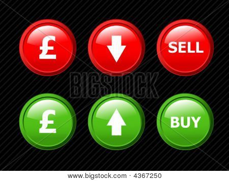 Set Of Vector Icons For Pound Currency Exchange Theme. Easy To Edit, Any Size. Aqua Web 2.0.