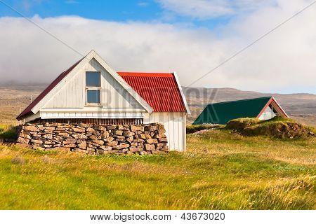 White Icelandic House At Sunny Day