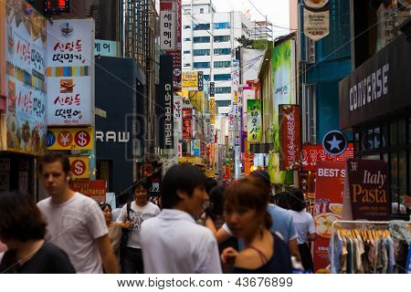 Seoul Busy Shopping Area Signs People Shoppers