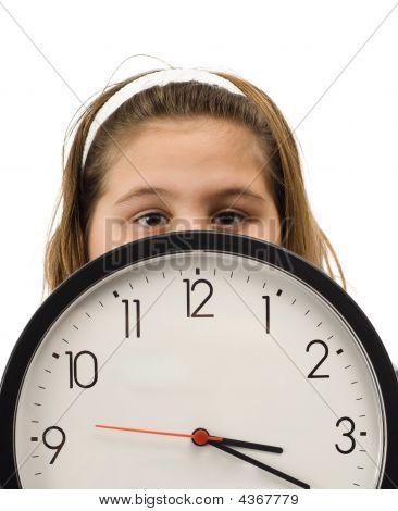 Girl Hiding Behind Clock