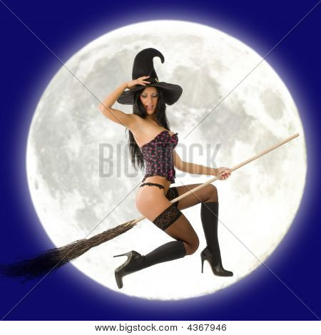 Witch Flying In Front Of Moon